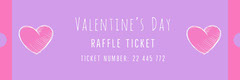 Pink Doodle Heart Valentine's Day Party Raffle Ticket Valentine's Day