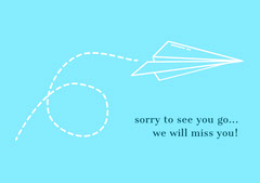 Blue and White Farewell Card Planes