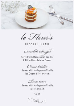 dessert menu Dessert