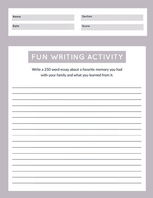 Purple Essay Writing School Worksheet  Työkirja