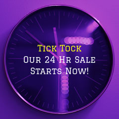 Purple Clock Flash Sale Square Instagram Graphic Sale Flyer