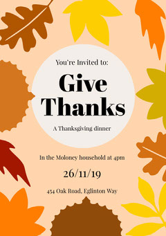 Earthy Tones Autumn Leaves Thanksgiving Dinner Invitation Card Thanksgiving