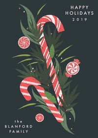 Peppermint Candy Cane Holiday Card Christmas Card