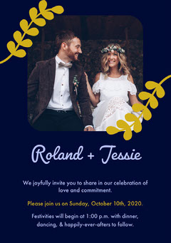 Navy and Gold Vine Wedding Invitation Card with Happy Bride and Groom Photo Rustic Wedding Invitation