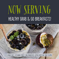 Gray and Green Toned Breakfast Promo Instagram Graphic  Fruit