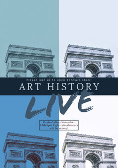 Blue Art History Show Invitation Card with Triumphal Arch History
