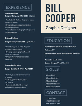 Blue and White Graphic Designer Resume Currículo profissional