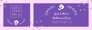 Violet and White Floral Skull Halloween Party Raffle Ticket Billet de tombola