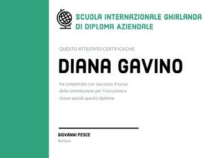 Diana Gavino  Certificato