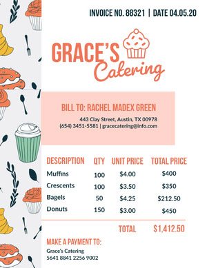 Illustrated Catering Service Invoice 청구서