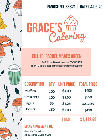 Illustrated Catering Service Invoice Invoice