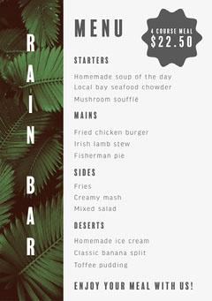 Tropical Off White Restaurant Tapas Bar A5 Menu Drink Menu