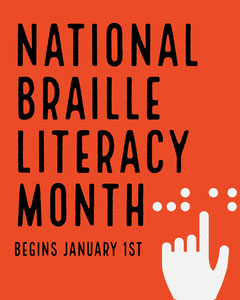 Red National Braille Literacy Month Instagram Landscape Awareness