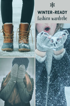 Winter Collection Fashion Store Pinterest Graphic with Collage Fashion Show