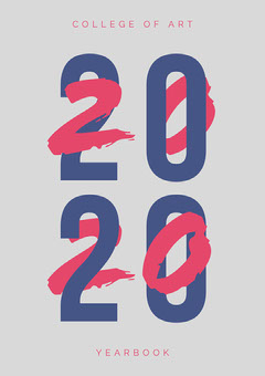 Blue and Red Typography 2020 Yearbook Typography