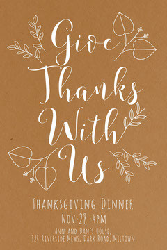 Brown Elegant Floral Calligraphy Thanksgiving Dinner Invitation Card Thanksgiving
