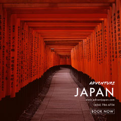 Red Japan Travel and Tourism Instagram Post Japan