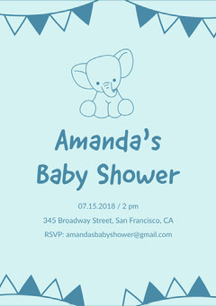Blue and Navy Blue Baby Shower Invitation  Baby Shower