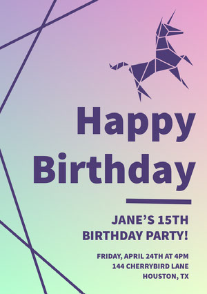 Gradient Birthday Party Invitation Card with Unicorn Tarjeta de cumpleaños de unicornio