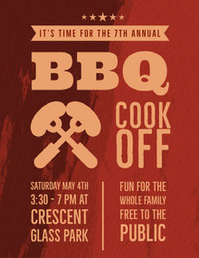 Red and Orange BBQ Event Poster BBQ Menu