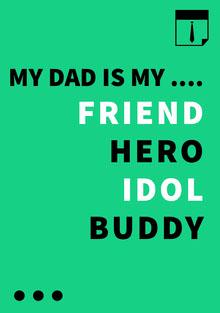 FRIEND<BR>HERO<BR>IDOL <BR>BUDDY Tarjetas para el Día del Padre