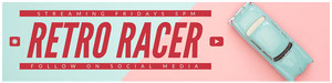 Claret and Blue Retro Racer Banner Banneri