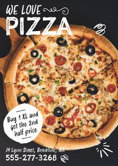Black, White, Pizza Restaurant Ad, Flyer Pizza