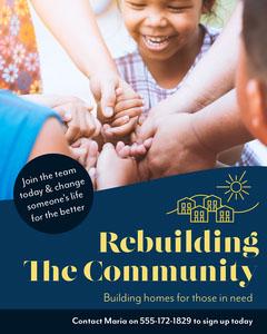 Navy & Yellow Rebuilding Charity Instagram Portrait Fundraiser