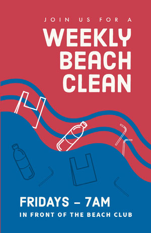 Blue and Pink Weekly Beach Clean Flyer Pink Flyers