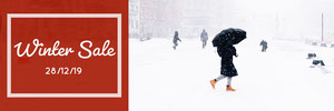Winter Sale Horizontal Ad Banner with Woman in Street Ads Banner
