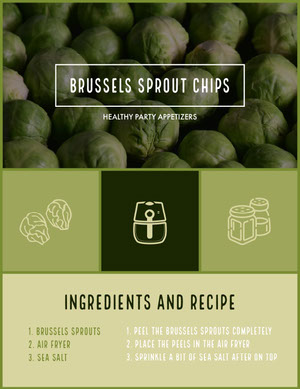 Green Toned Brussels Sprout Chips Recipe Instagram Portrait 조리법 카드