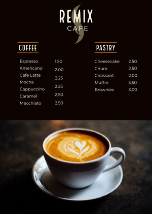 Black With Fresh Coffee Cafe Menu Drink Menu