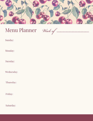 Red Illustrated Weekly Meal Planner with Cherries Menu de la semaine
