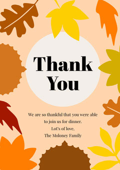 Earthy Tones Autumn Leaves Thanksgiving Dinner Thank You Card Thanksgiving