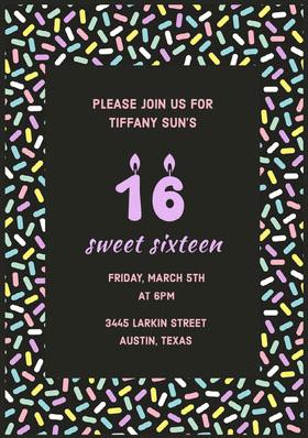 sweet sixteen  Convite de aniversário