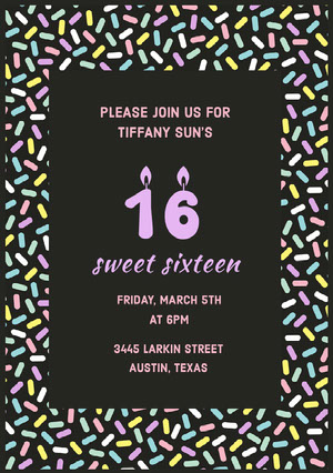 Pastel Colored Sprinkles Sweet Sixteen Birthday Invitation Card Sweet 16 Invitation