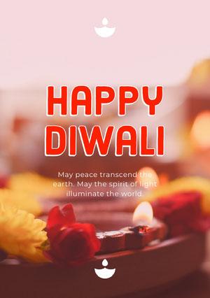 Red and Beige Happy Diwali Card Diwali