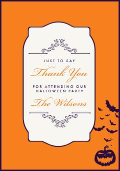 Regal Halloween Party Thank you card Halloween Party Thank you Card