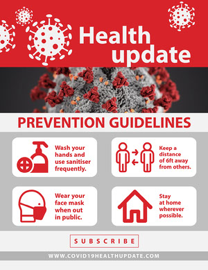 Red White and Gray Health Update COVID 19 Newsletter Boletín