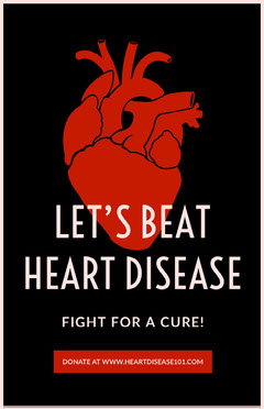 Red and Black Illustrated Heart Disease Campaign Poster Heart