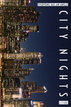Blue, White, Illuminated Cityscape, Kindle Book Cover City