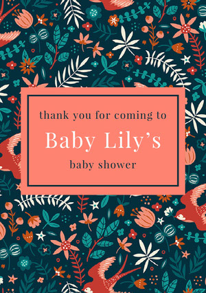 Pink and Flowered Pattern Thank You Card Baby Shower Thank You Card