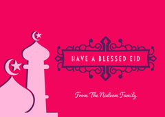 Pink and White Have a Blessed Eid Card Family