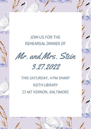 Violet and White Rehearsal Dinner Invitation Rehearsal Invitation