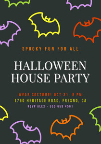 Black and Colorful Halloween Bat House Party Invitation Scary