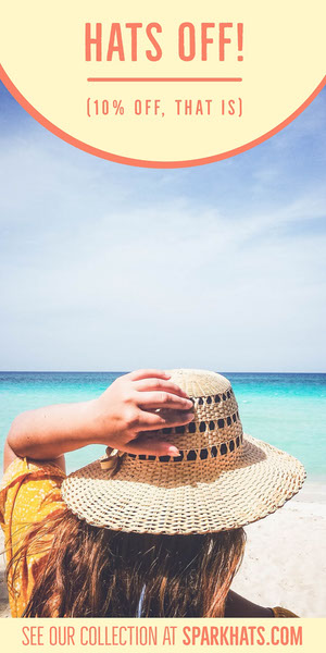 Hat Store Vertical Ad Banner with Woman on Beach Reclamebanner