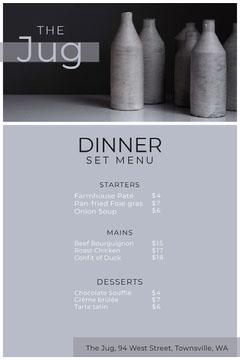 jug set menu Dinner Menu