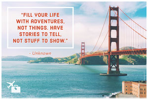 Inspirational Quote Postcard with Golden Gate Bridge Rejsepostkort