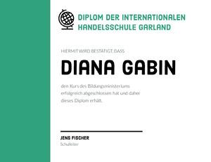Diana Gabin  Zertifikat