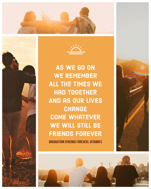 Orange Inspirational Friendship Graduation Social Media Post with Collage of People at Sunset Jahrbuchmacher